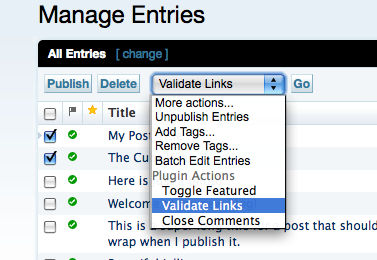 Selecting Entries to Validate