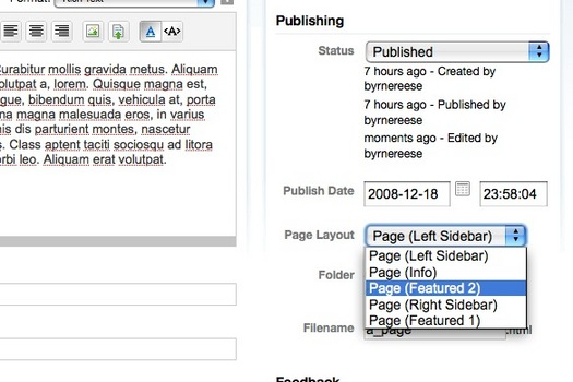 Page Layout Plugin Screenshot