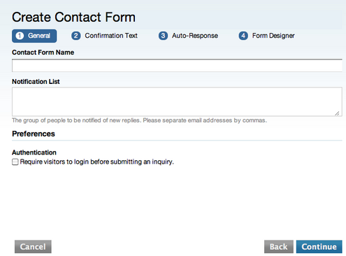 The Create Contact Form Dialog