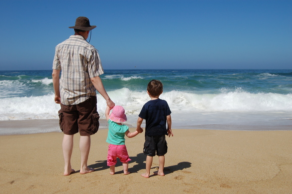 My kids and I at the beach