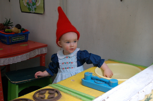 A gnome in the garden shed.